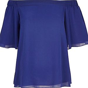 Blue chiffon bardot top