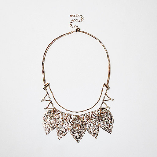 Gold tone filigree leaf bib necklace