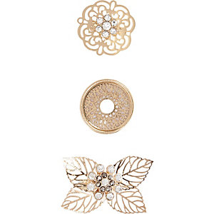 Gold tone filigree brooches pack
