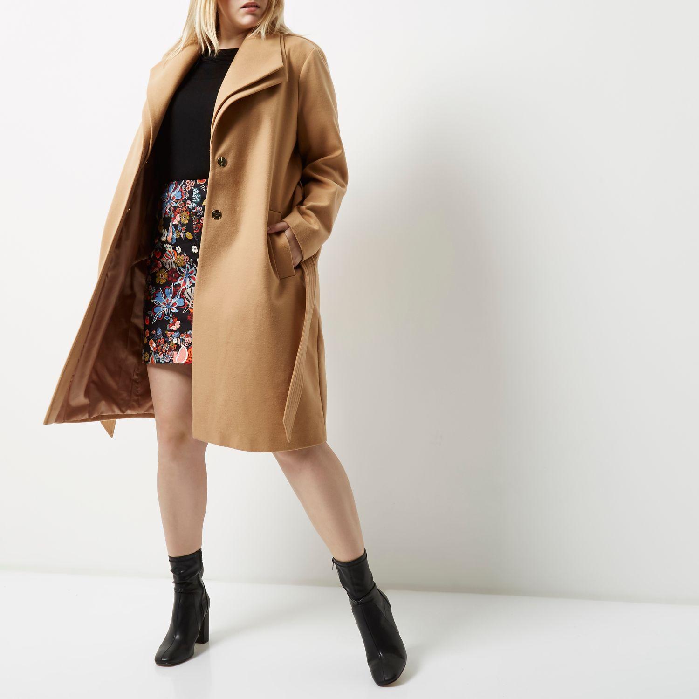 Plus light brown double collar robe coat