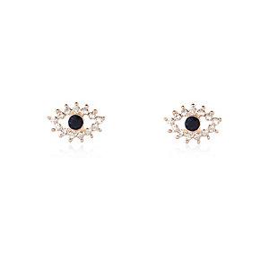 Rose gold tone evil eye stud earrings