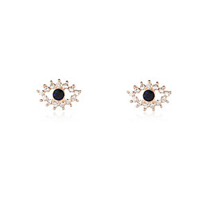 Rose gold tone evil eye stud earrings