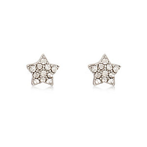 White silver tone star stud earrings