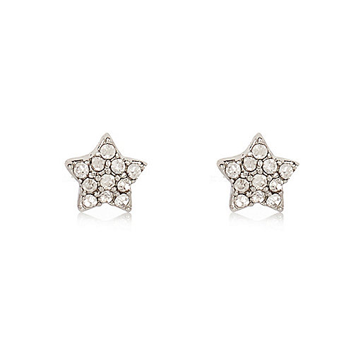 White silver tone star stud earrings