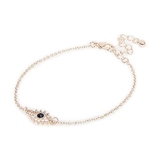 Rose gold tone evil eye bracelet