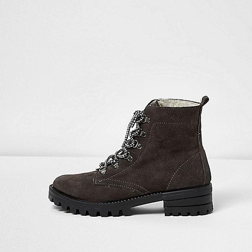 Grey suede hiker boots
