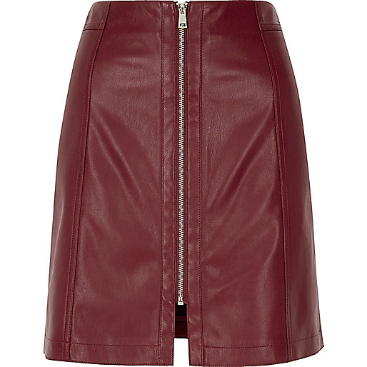 Dark red leather look zip mini skirt