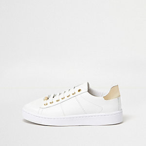White metallic trim platform trainers
