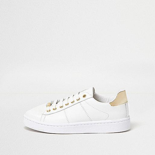White metallic trim platform sneakers