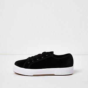 Black velvet plimsolls