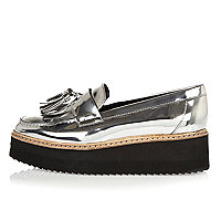 Silver leather platform loafers