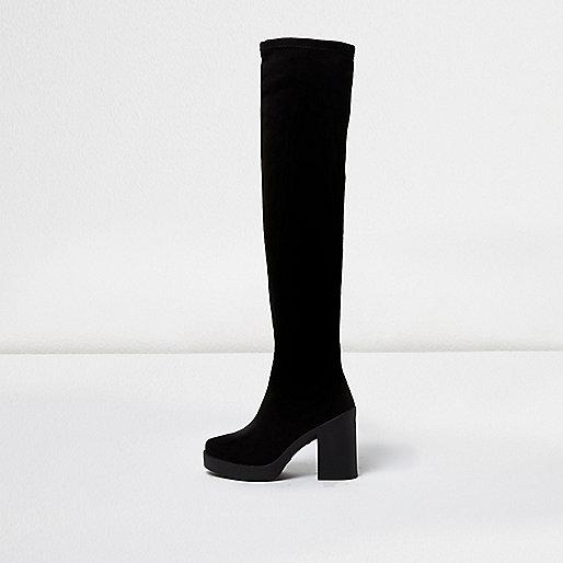 Black platform over the knee boots