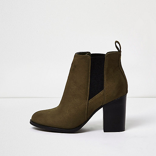 Khaki faux suede heeled Chelsea boots