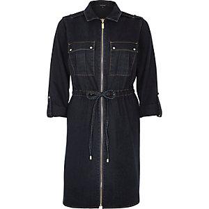 Jeans-Blusenkleid mit dunkler Waschung und Reißverschluss