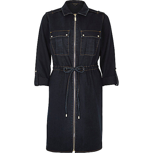 Dark wash denim zip shirt dress