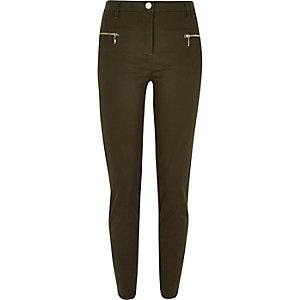Khaki twill skinny zip pants
