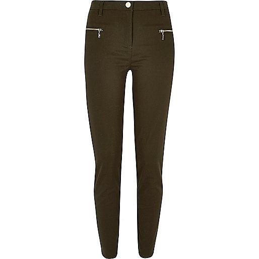Khaki twill skinny zip trousers