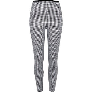 Black dogtooth print leggings