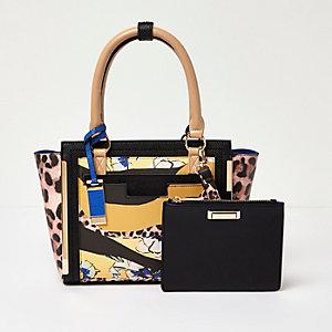 Leopard print colour block tote handbag
