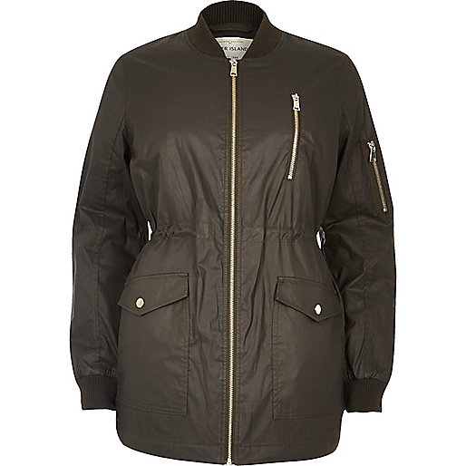 Khaki waxed longline bomber jacket