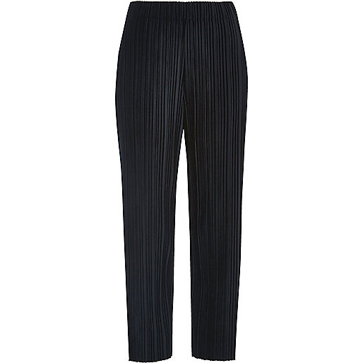 Navy pleated velvet trousers