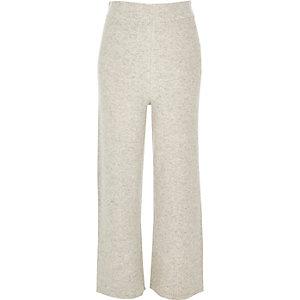 Pantalon large gris coupe courte
