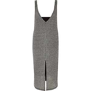 Grey ribbed double layer dress