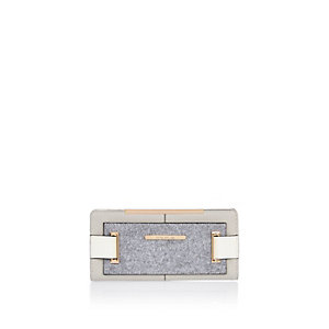 Grey felt panel foldout purse