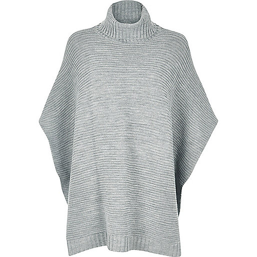 Grey ribbed knitted poncho