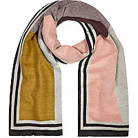 Pink color block print scarf