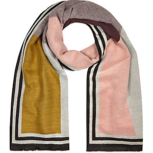 Pink colour block print scarf