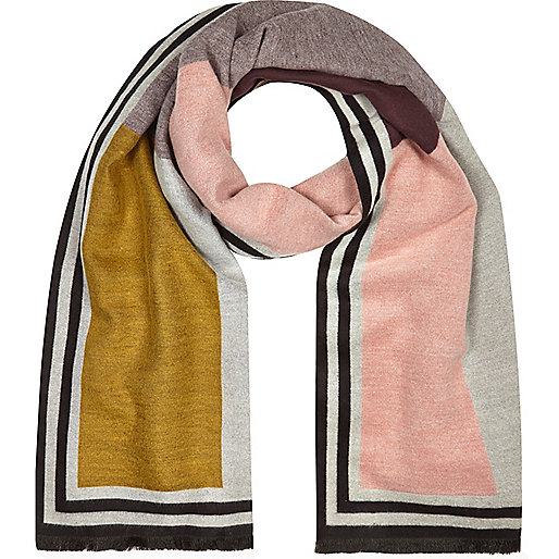 Pink color block print scarf