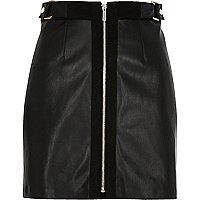 Schwarzer A-Linien-Minirock mit Reißverschluss