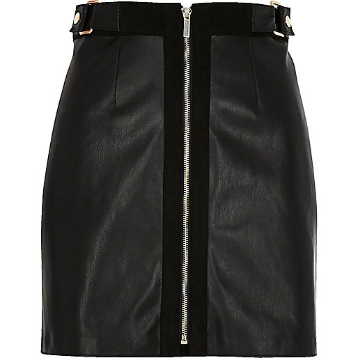 Black zip front a-line mini skirt