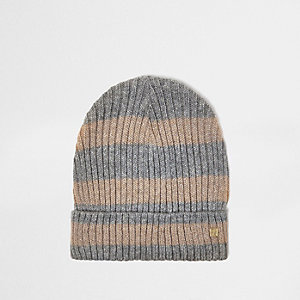 Grey and gold lurex stripe beanie hat