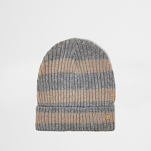 Grey and gold lurex stripe beanie
