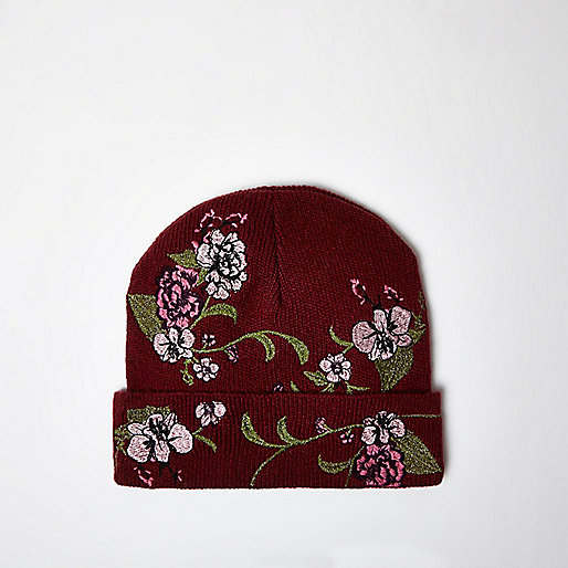 Red floral embroidered beanie hat