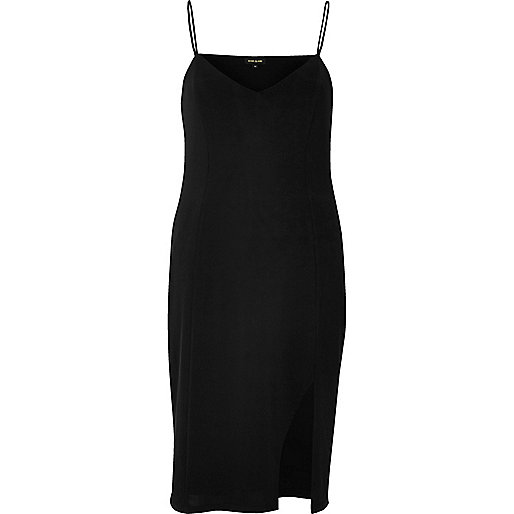 Black slinky cami mini dress