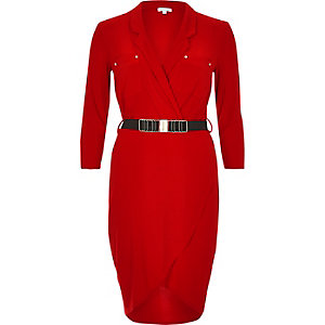 Red belted shirt dress