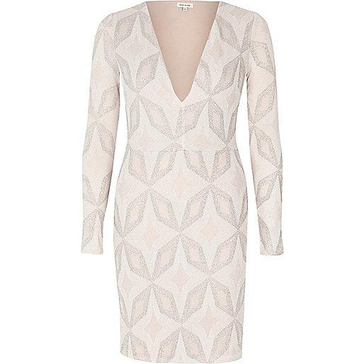 Light pink sparkling plunge dress
