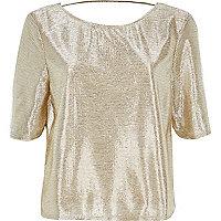 Gold boxy metallic top