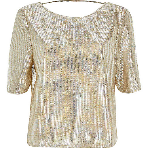 Gold boxy metallic top