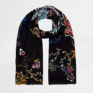 Black oriental print long scarf