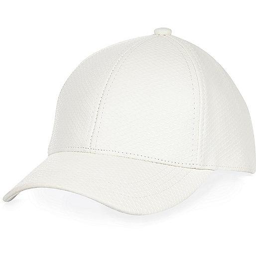White snake print cap