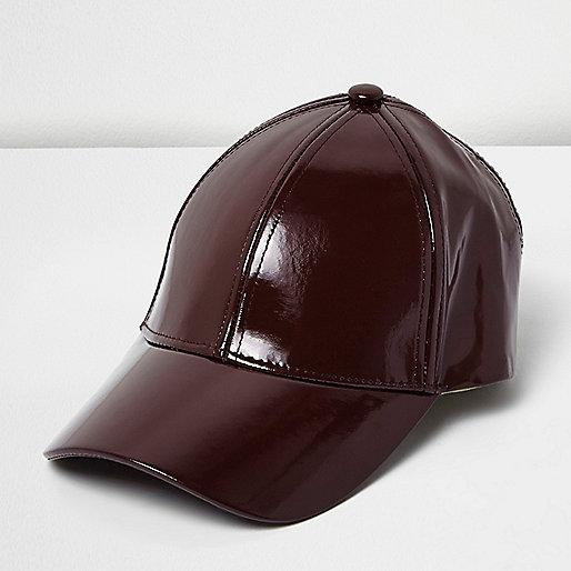 Dark red patent cap