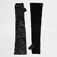 Gants longs noirs avec empiècements en cuir synthétique