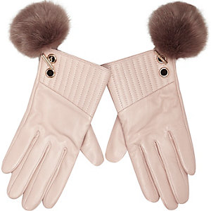 Light pink leather pom pom gloves