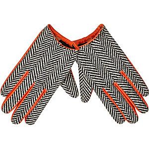 Orange leather herringbone gloves