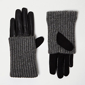 Black ribbed leather gloves