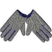 Blue leather herringbone gloves